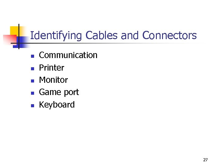 Identifying Cables and Connectors n n n Communication Printer Monitor Game port Keyboard 27