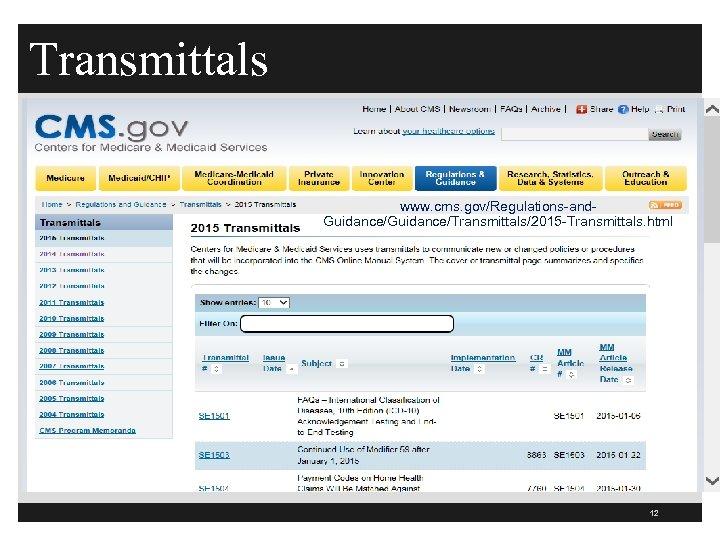 Transmittals www. cms. gov/Regulations-and. Guidance/Transmittals/2015 -Transmittals. html 12
