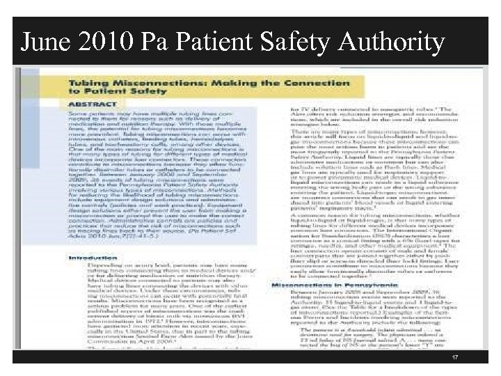 June 2010 Pa Patient Safety Authority 17