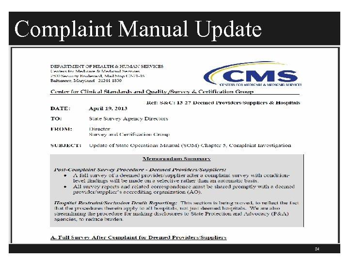 Complaint Manual Update 24