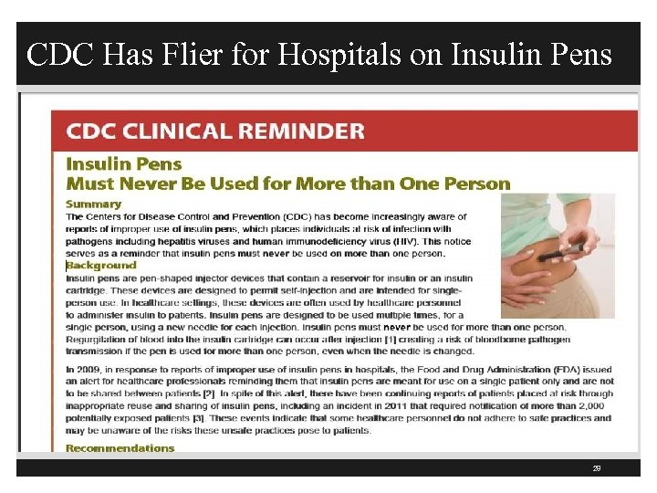 CDC Has Flier for Hospitals on Insulin Pens 28