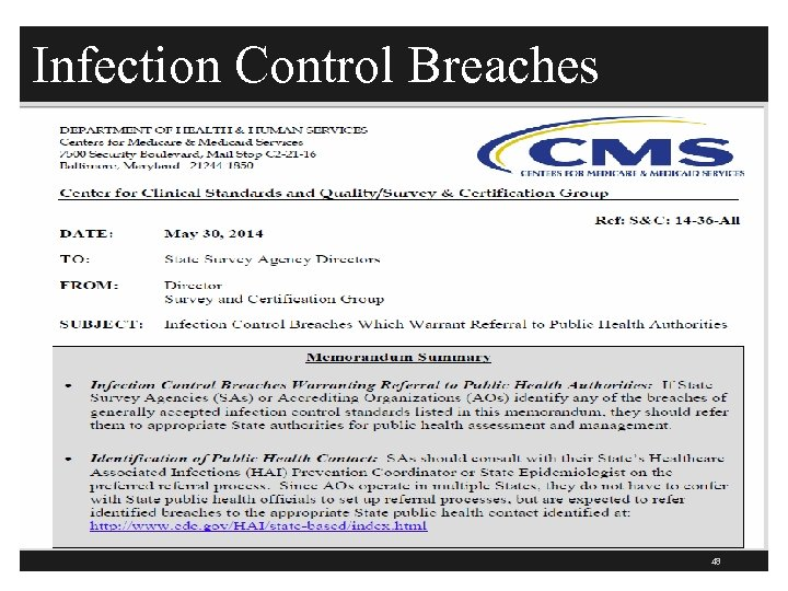 Infection Control Breaches 48