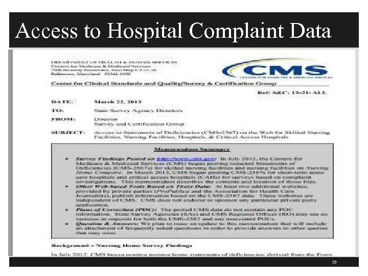 Access to Hospital Complaint Data 53