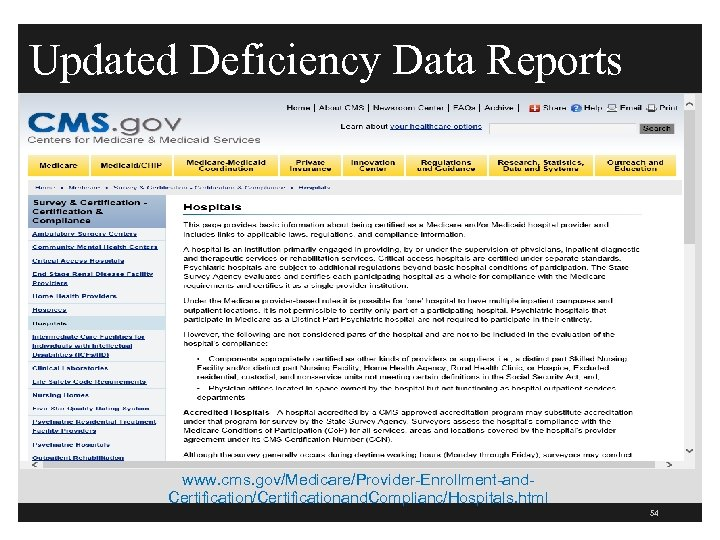 Updated Deficiency Data Reports www. cms. gov/Medicare/Provider-Enrollment-and. Certification/Certificationand. Complianc/Hospitals. html 54
