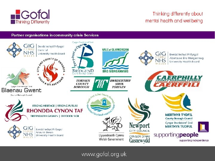 Partner organisations in community crisis Services Welcome to Gofal