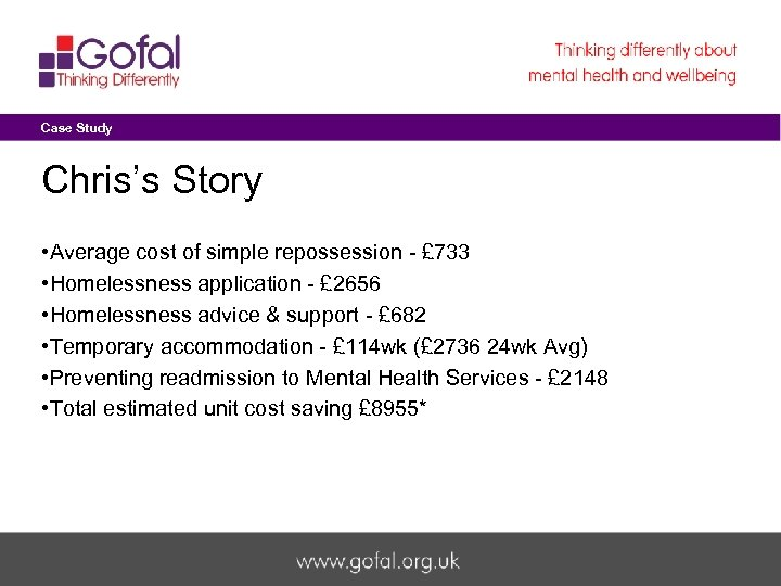 Case Study Chris's Story • Average cost of simple repossession - £ 733 •