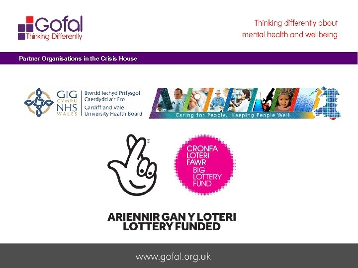 Partner Organisations in the Crisis House Welcome to Gofal