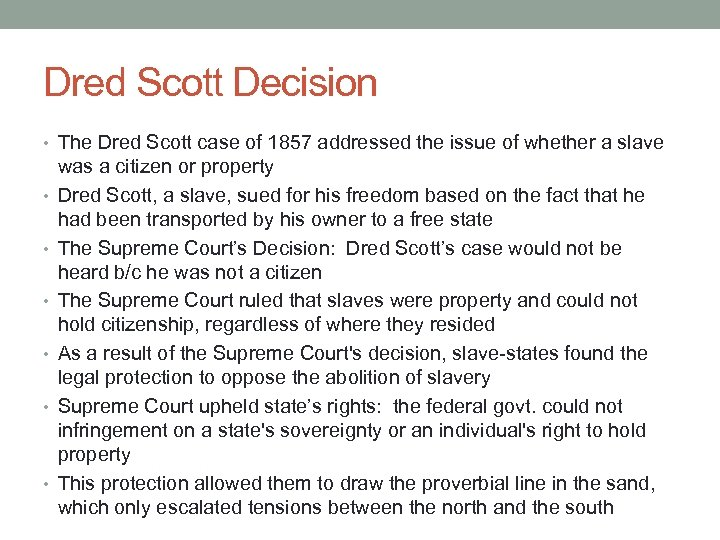an overview of the dred scott case in the civil war of the untied states of america The union and the confederate states of america each had advantages at the inception of the conflict and each side had an initial war strategy both sides attempted to exert diplomatic pressure to influence the course of the war.