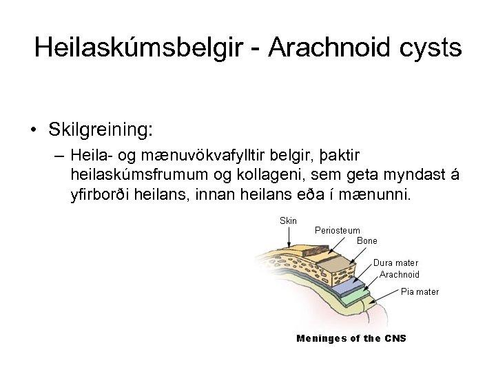 Heilaskúmsbelgir - Arachnoid cysts • Skilgreining: – Heila- og mænuvökvafylltir belgir, þaktir heilaskúmsfrumum og