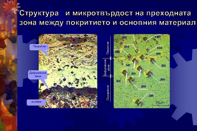 Структура и микротвърдост на преходната зона между покритието и основния материал 549 Дифузионна зона