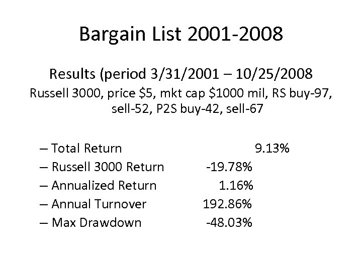 Bargain List 2001 -2008 Results (period 3/31/2001 – 10/25/2008 Russell 3000, price $5, mkt