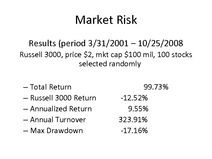 Market Risk Results (period 3/31/2001 – 10/25/2008 Russell 3000, price $2, mkt cap $100