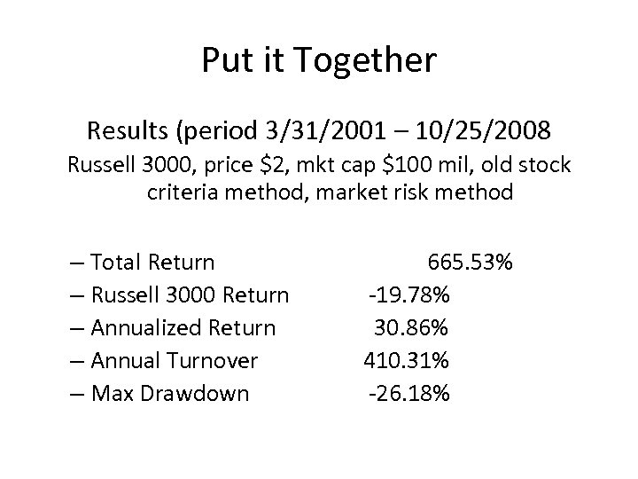 Put it Together Results (period 3/31/2001 – 10/25/2008 Russell 3000, price $2, mkt cap
