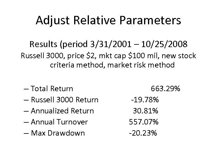 Adjust Relative Parameters Results (period 3/31/2001 – 10/25/2008 Russell 3000, price $2, mkt cap