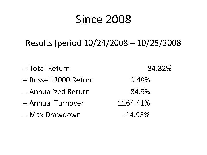 Since 2008 Results (period 10/24/2008 – 10/25/2008 – Total Return – Russell 3000 Return