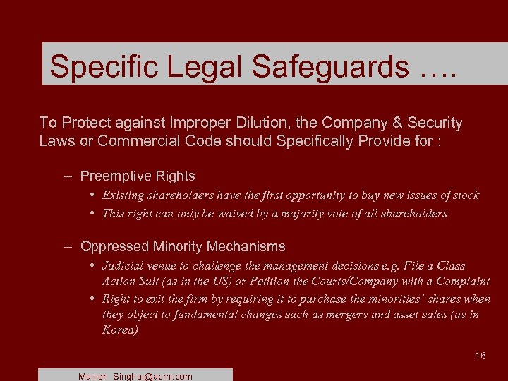 Specific Legal Safeguards …. To Protect against Improper Dilution, the Company & Security Laws