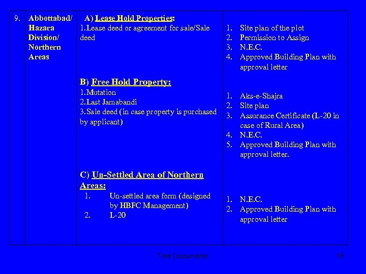 9. Abbottabad/ A) Lease Hold Properties: Hazara 1. Lease deed or agreement for sale/Sale