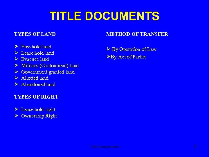 TITLE DOCUMENTS TYPES OF LAND METHOD OF TRANSFER By Operation of Law By Act