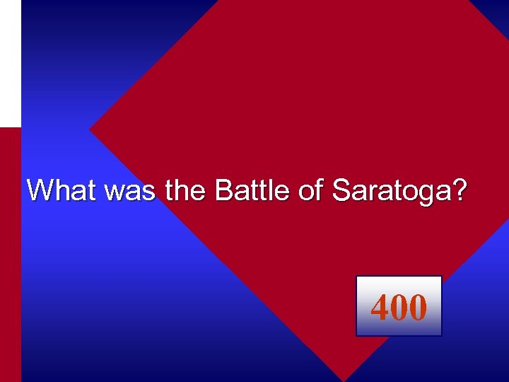 What was the Battle of Saratoga? 400
