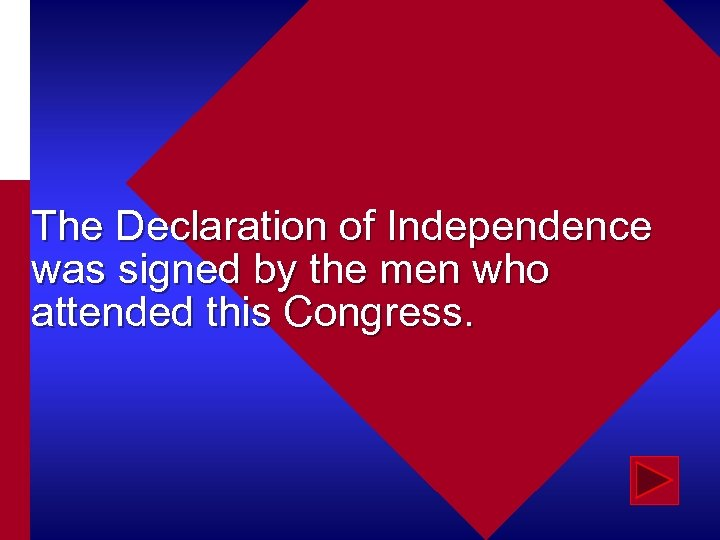 The Declaration of Independence was signed by the men who attended this Congress.