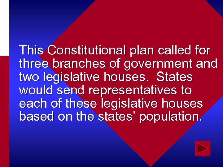 This Constitutional plan called for three branches of government and two legislative houses. States
