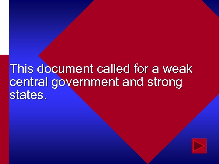 This document called for a weak central government and strong states.