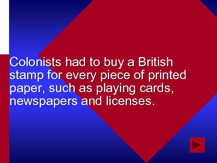 Colonists had to buy a British stamp for every piece of printed paper, such