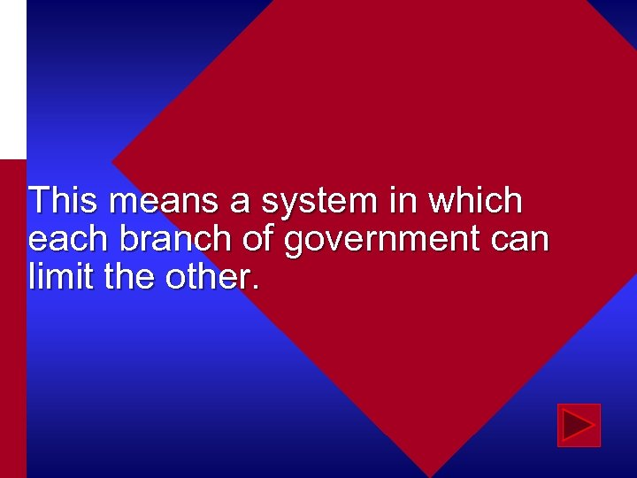 This means a system in which each branch of government can limit the other.