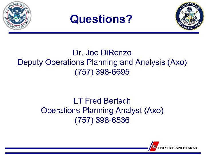 Questions? Dr. Joe Di. Renzo Deputy Operations Planning and Analysis (Axo) (757) 398 -6695