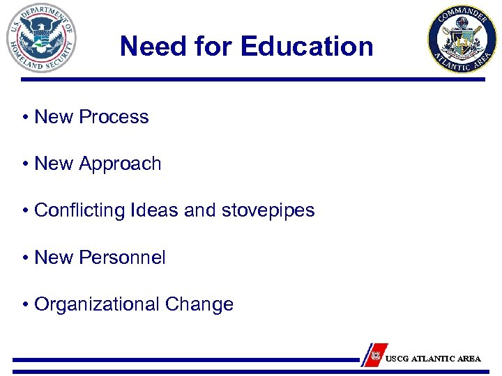 Need for Education • New Process • New Approach • Conflicting Ideas and stovepipes