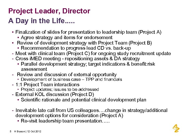 Project Leader, Director A Day in the Life. . . • Finalization of slides