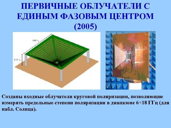 ПЕРВИЧНЫЕ ОБЛУЧАТЕЛИ С ЕДИНЫМ ФАЗОВЫМ ЦЕНТРОМ (2005) Созданы входные облучатели круговой поляризации, позволяющие измерять