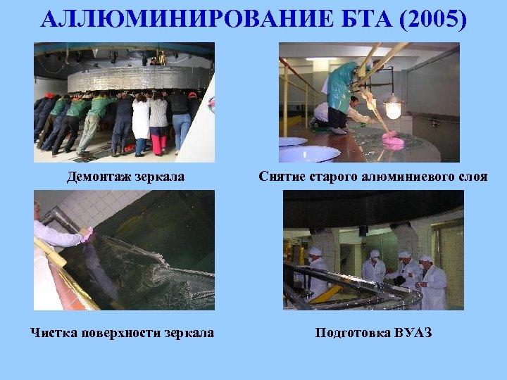 АЛЛЮМИНИРОВАНИЕ БТА (2005) Демонтаж зеркала Снятие старого алюминиевого слоя Чистка поверхности зеркала Подготовка ВУАЗ