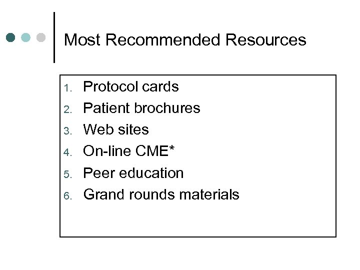 Most Recommended Resources 1. 2. 3. 4. 5. 6. Protocol cards Patient brochures Web