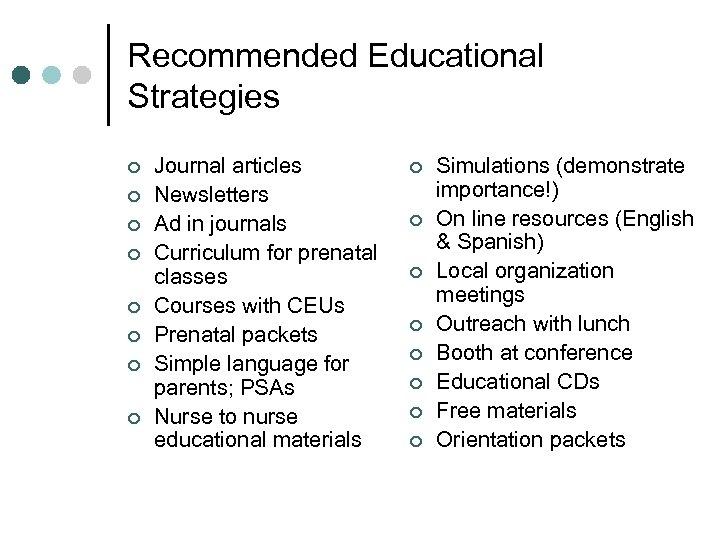 Recommended Educational Strategies ¢ ¢ ¢ ¢ Journal articles Newsletters Ad in journals Curriculum