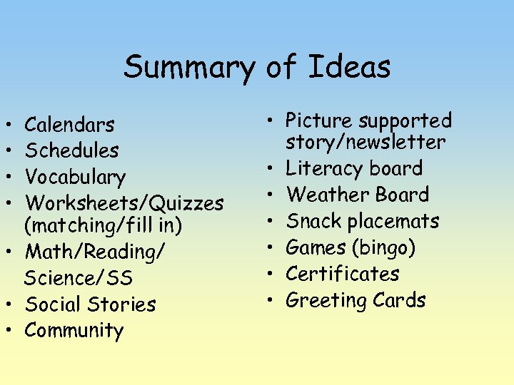 Summary of Ideas • • Calendars Schedules Vocabulary Worksheets/Quizzes (matching/fill in) • Math/Reading/ Science/SS