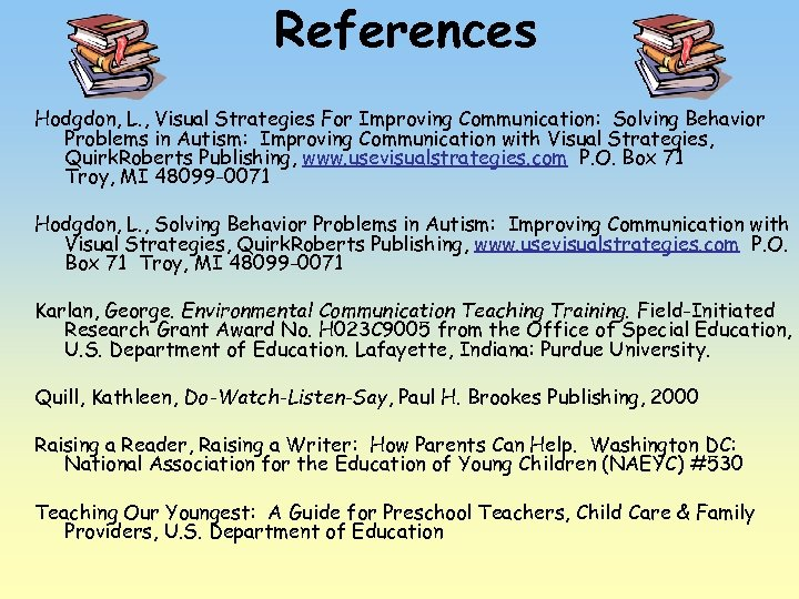 References Hodgdon, L. , Visual Strategies For Improving Communication: Solving Behavior Problems in Autism: