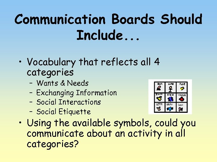 Communication Boards Should Include. . . • Vocabulary that reflects all 4 categories –