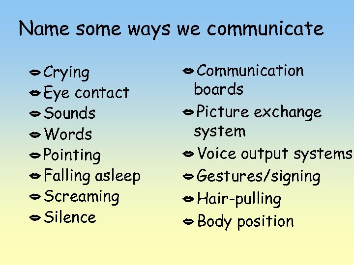 Name some ways we communicate Crying Eye contact Sounds Words Pointing Falling asleep Screaming