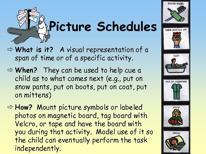 Picture Schedules ð What is it? A visual representation of a span of time
