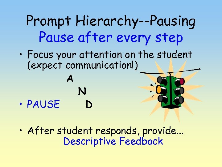 Prompt Hierarchy--Pausing Pause after every step • Focus your attention on the student (expect