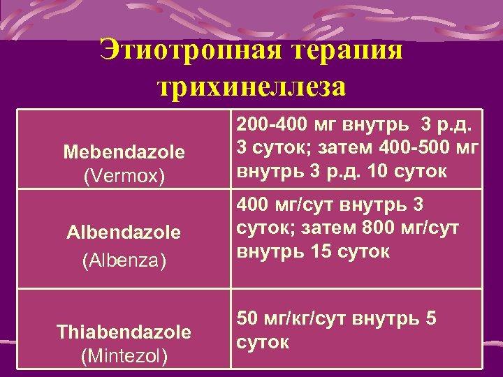 Этиотропная терапия трихинеллеза Mebendazole (Vermox) 200 -400 мг внутрь 3 р. д. 3 суток;