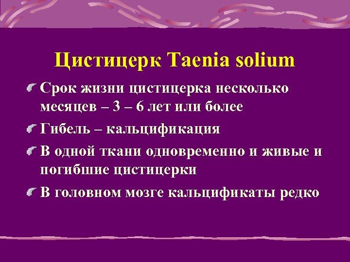 Цистицерк Taenia solium Срок жизни цистицерка несколько месяцев – 3 – 6 лет или