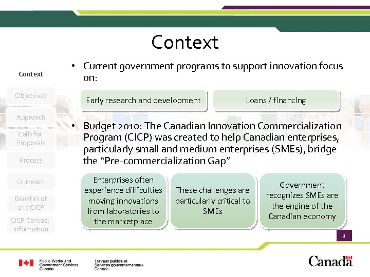 Context Objectives Approach Calls for Proposals Process Outreach Benefits of the CICP Contact Information