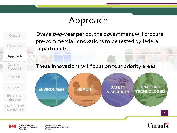 Approach Context Objectives Over a two-year period, the government will procure pre-commercial innovations to