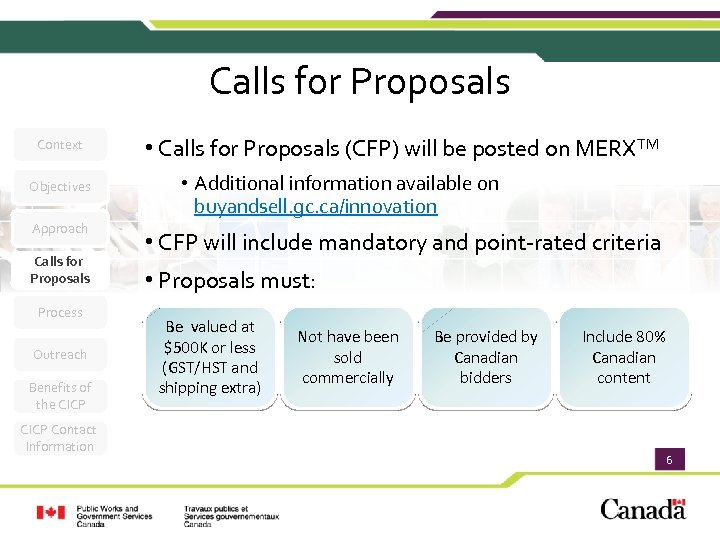 Calls for Proposals Context Objectives Approach Calls for Proposals Process Outreach Benefits of the