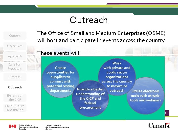 Outreach Context The Office of Small and Medium Enterprises (OSME) will host and participate