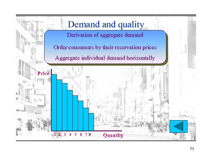 Demand quality Derivation of aggregate demand Order consumers by their reservation prices Aggregate individual