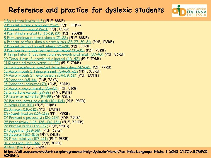 Reference and practice for dyslexic students 1 Be e there is/are (1– 3) (PDF,