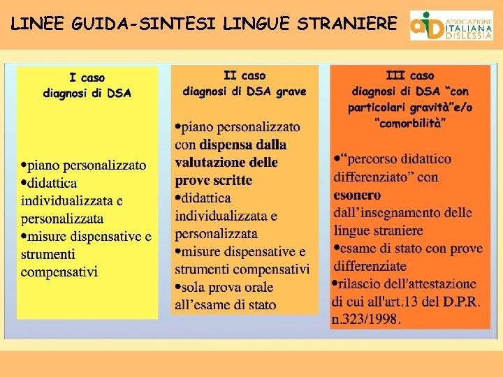 LINEE GUIDA-SINTESI LINGUE STRANIERE
